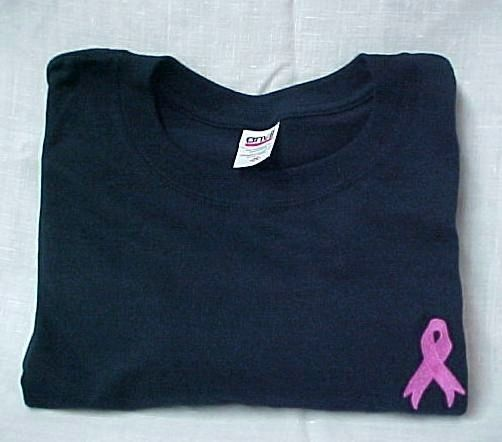 Breast Cancer T-Shirt S Pink Ribbon Navy Blue Crew Neck S/S Unisex Blend New