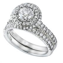 1.63 TCW Round Cut Diamond Matching Wedding Rings Set 14k White Gold - £2,466.24 GBP