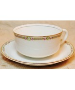 Antique Carrollton H Porcelain China Cup Saucer 18kt Gold Trim Rose - $49.48