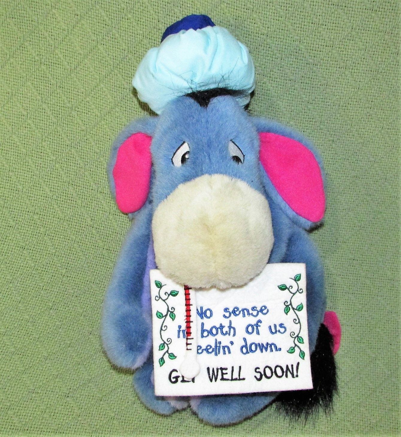 "EEYORE Get Well Plush ICE BAG Thermometer Sign 13"" Plush Stuffed Pooh Disney Toy image 4"
