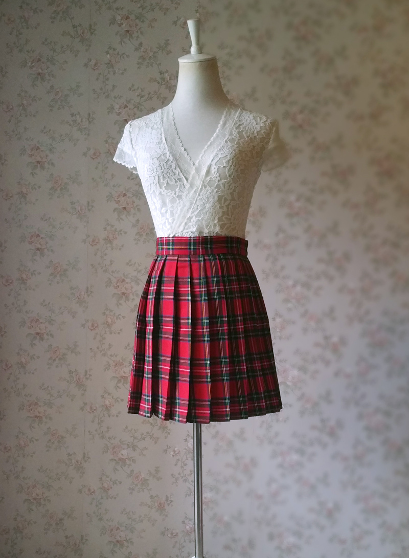 RED Pleated PLAID SKIRT Campus Style Red Plaid Pleat Skirt Red Check Mini Skirt