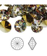 12mm Crystal Peacock Eye Swarovski Chaton Rivoli Beads 1122, 4, golden w... - $5.40