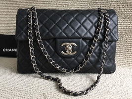 AUTHENTIC CHANEL BLACK QUILTED CAVIAR MAXI CLASSIC SINGLE FLAP BAG SHW - $3,599.00