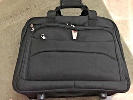 DELSEY Black Rolling CARRYON Travel LUGGAGE Laptop LIGHT BUSINESS BRIEFCASE - $82.07