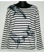 J CREW Womens Whales Wildlife Navy Blue Shirt Top Small LS Garments for ... - $19.99