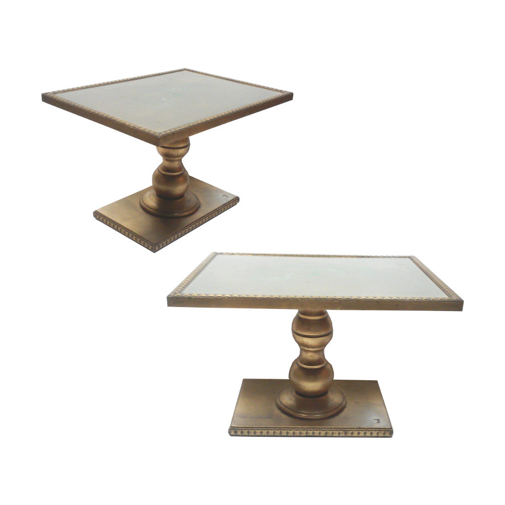 Gold leaf pedestal end tables angle and side view