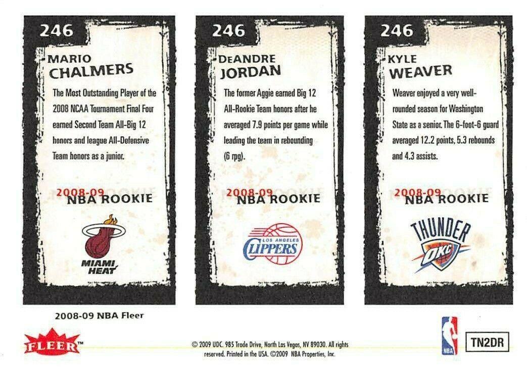 2008-09 Fleer #246 Mario Chalmers > DeAndre Jordan > Kyle Weaver RC Rookie Card