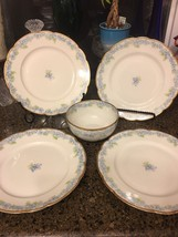 Rare Haviland Limoges Blue Flowers plates(10) and bowl (1) - $267.29