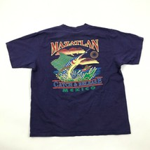 VINTAGE Mazatlan Mexico MARLIN Shirt 3D Graphic Scenery Navy Blue Tee On... - $27.33