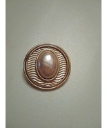 VINTAGE CLIP GOLDTONE EARRINGS W/ FAUX MABE PEARL GUILLOCHE TYPE SURROUND - $40.00