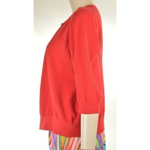 Eileen Fisher sweater M red cardigan 3/4 sleeves organic cotton cashmere blend image 2