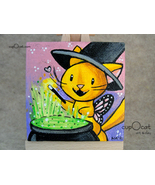 A Little Magic - A witchy orange kitty and her cauldron (Mini painting w... - $23.00