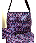 Avon Diaper Bag 3 Pc Changing Pad Small Zippered Pouch Geometric Floral ... - $24.74