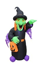 BZB Goods 4 Foot Tall Halloween Inflatable Witch with Pumpkin Bag LED Li... - $58.90