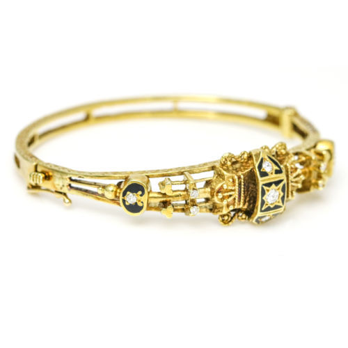 Sydney Berman & Co. 14 Karat Gold Victorian Diamond Bangle Bracelet