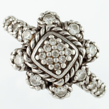 Judith Ripka Sterling Silver Iron Cross Diamonique Ring w/ Petal Accents... - £88.87 GBP