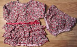 Girl's Size 12 M 9-12 Month Dress Set Pink Floral & Satin Ruffled L/S Dr... - $22.00