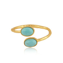 Arizona Turquoise Gemstone 18k Gold Plated 925 Silver Women Ring Jewelry - $22.74