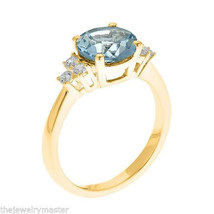 AQUAMARINE & DIAMOND ANNIVERSARY RING 8mm ROUND CUT 14KT YELLOW GOLD 2.1... - £753.83 GBP