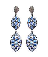 Fine Rainbow Moonstone 925 Sterling Silver Pave Diamond Dangle Earrings... - $425.70
