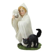 "CC Home Furnishings 6.25"" Ghostly Child in Costume Black Cat Halloween D... - $40.58"