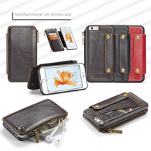 for iPhone 6 6S Plus 8 7 X 2in1 PU Leather Wallet Zipper Case & Flip Stand Cover - $11.94
