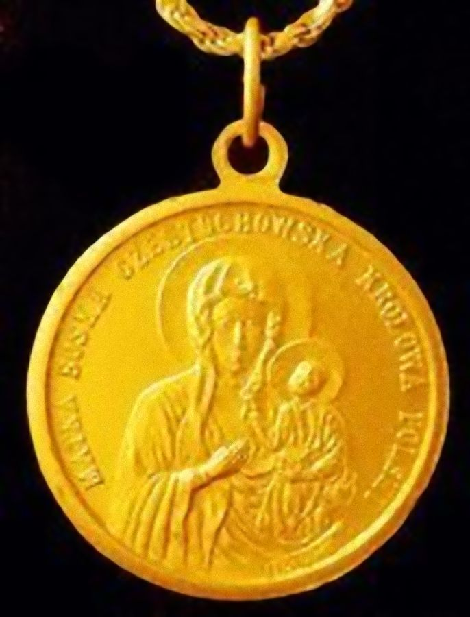 Primary image for LOOK Silver Jesus Mary CZESTOCHOWA Charm Gold Plated