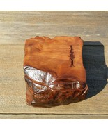 Wood Jewelry Box Curly Redwood Tree Engraved Rustic Handcrafted Storage #K - $91.99