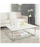 White Coffee Table Square Modern Chrome Shelf H... - $399.25