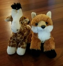 "Plush Stuffed Animal Aurora Red Fox and Giraffe 8"" Lot of 2 - $7.91"