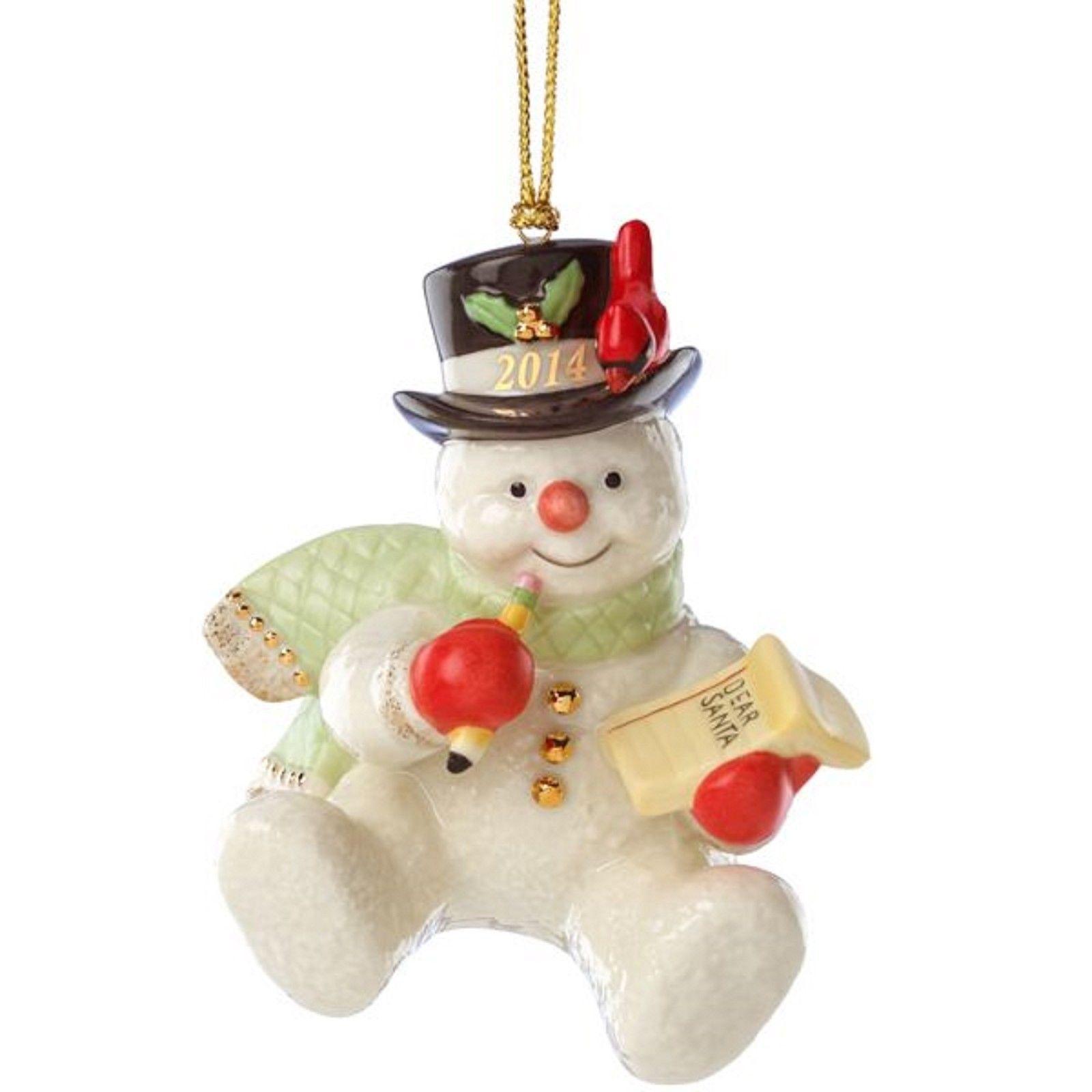 Lenox 2014 Snowman Figurine Ornament Annual Making List ...