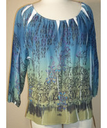 NWT LUXE PETITE absract blue sheer polyester doleman tunic blouse PL (T2... - $17.80