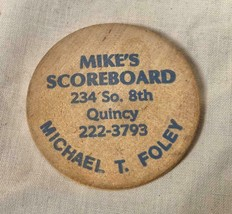 VINTAGE WOODEN NICKEL CHIT MIKE'S SCOREBOARD QUINCY RAIN CHECK - $25.73