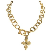 1990s. Vintage CHANEL round chain statement necklace with cross pendant top and  - $722.00