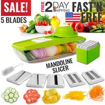 Mandoline Slicer Vegetable Food Kitchen Chopper Peeler Container With 5 ... - €16,97 EUR
