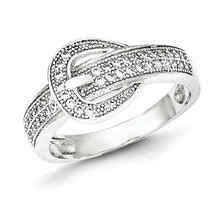 SOLID POLISHED STERLING SILVER CZ BUCKLE RING / BAND -  SIZE 7 - $29.45