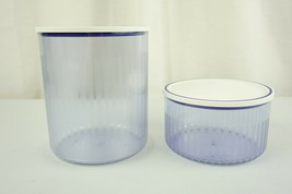 Tupperware Acrylic Sheer Blue 2 L & 1L Canister 3100A & 3101A White Seal - $29.95