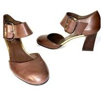 Franco Sarto Sz 6 M Brown Leather Mary-Jane Pump Womens Ladies Shoes - $19.39