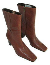 Anne Klein Mid Calf Boots Brown Leather Womens Size 6.5 Heeled Buttery Soft - $29.69