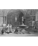 ITALY Venice Baptistery in St. Marks - 1864 Fine Quality Print Engraving - $35.96
