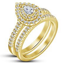 Pear Cut Diamond Womens Wedding Bridal Ring Set 14k Gold Finish 925 Soli... - $86.99