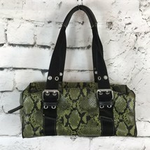 Nine West Green & Black Faux Alligator Croc Shoulder Bag Tote Canvas Str... - $16.82