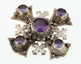 Sterling Silver Jerusalem Crusade Cross Brooch with Semi-Precious Accents - $356.40