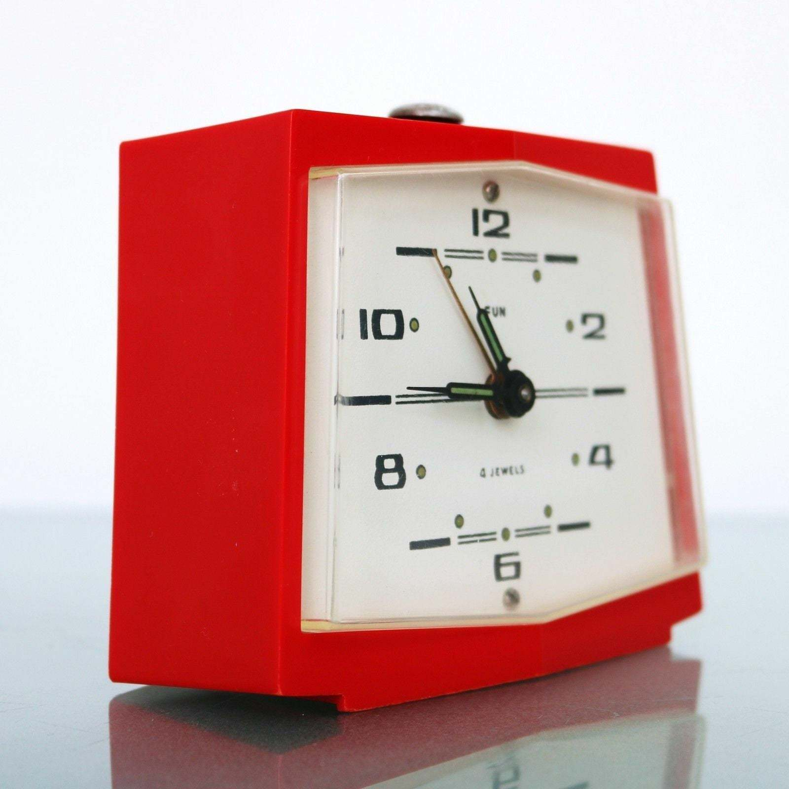 Primary image for Retro FUN SPACE AGE Alarm Mantel Top Clock Vintage 4 Jewels Square High Gloss Wo