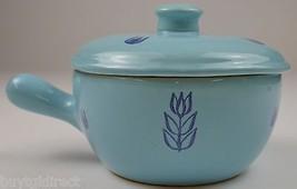 Vintage Cronin Blue Tulip Pattern Lidded Soup Crock Casserole Dish Bowl ... - $24.99