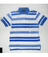 Tommy Hilfiger Mens Polo Shirt Striped White Blue Size Medium NWT - $38.79