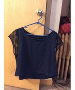 Adore Me Crop Top, Size Large, Navy Blue - $9.99