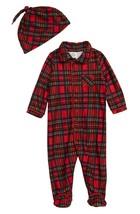 Little Me 2 Piece Plaid Footie Pajamas & Hat Set, Size 6 Months - $13.10