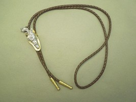 Western Pistol Gun & Holster Bolo Tie W/ Leather String - Gold & Silver ... - $40.10