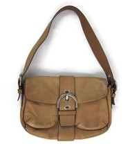 Coach Light Tan Leather Shoulder Bag Purse Pocket Strap Buckle - $22.23